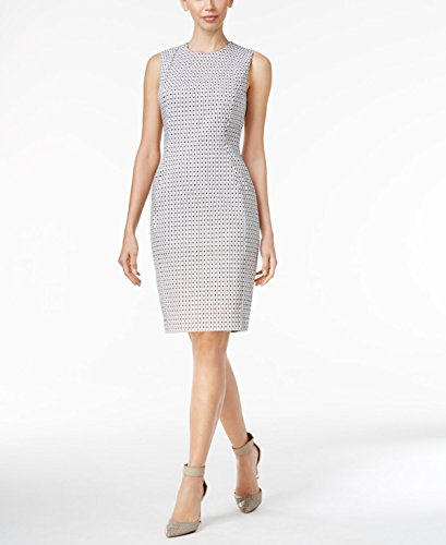 Calvin Klein Womens Jacquard Sheath Dress Cd7e4a00 White Black Dress