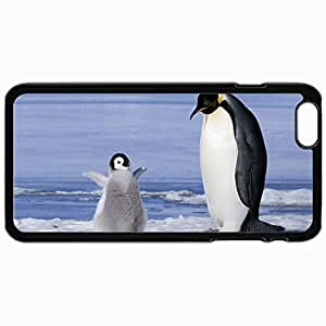 Customized Cellphone Case Back Cover For iPhone 6 Plus, Protective Hardshell Case Personalized Birds Penguin And Chick 30942 Black by runtopwell