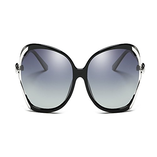 NUBAO Sunglasses Women Polarized Box Drive Round Face Hollow Driving Sunglasses Outdoor Travel Beach Break Essentials (Color : Bright black) (Was Sonnenbrille)