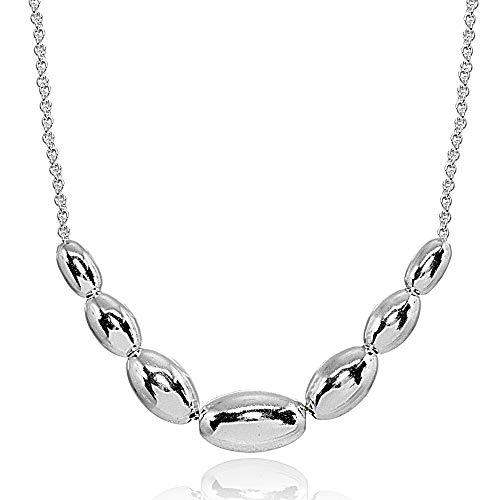 (Sterling Silver Polished Journey Graduated Oval Bead Dainty Chain Necklace, 16 Inch + Ext)