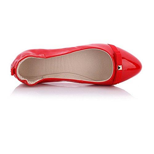 Allhqfashion Femmes Pull-on Pointu Fermé Talon Bas Pu Chaussures-chaussures Solides Avec Rivet Rouge