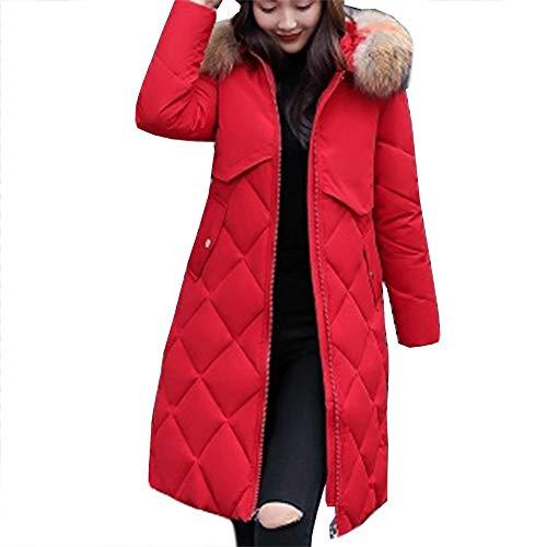 Faux Invernale Cappotto Tjhhkjuo Donna Elegante Giubbotto Red Lungo Invernali Imbottito Basamento Giacca Cappuccio Dark Pelliccia xfYZYI
