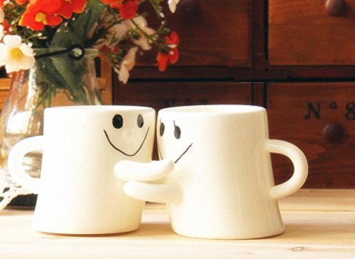 BUYNEED Lovely Cute Happy Hug For Lover Friends Family Coffee Milk Ceramic Mug Cup Christmas Birthday Best Gift,Set of 2