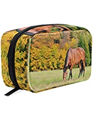 Makeup Organizer Horse Images Womens Zip Toiletry Bag Large Case Cosmetic Bags