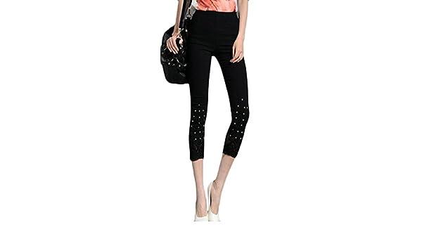 9776233b4ad Pandapang Womens Leggings Casual Lace Rhinestone Plus Size Stretch Capri  Pants Black XS at Amazon Women s Clothing store