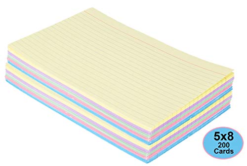 1InTheOffice Index Cards 5 x 8 Ruled Colored, Assorted 200/Pack (Ruled Index Cards 5x8)