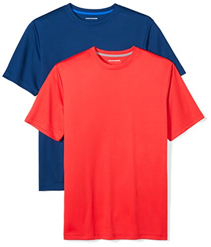 Amazon Essentials Men's 2-Pack Performance Short-Sleeve T-Shirts, Navy/Red, X-Large