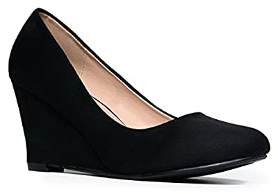 Molli Low Closed Toe Wedge Heel, Black Suede, 5.5 B(M) US