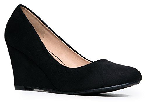 Cute Office Casual Walking Shoe - Comfortable Easy Low Pump - Kitten Basic Slip On Work Wedge by J Adams,Black Suede, 6.5 B(M) US