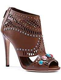 Women's Leather High Heel Sandals Shoes