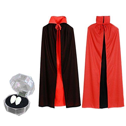 Halloween Cape,Outgeek Goth Devil Pirate Demon Cloak with Vampire Teeth -