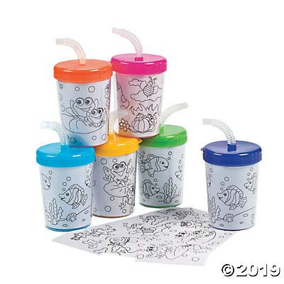 Color Your Own Cups with Lids and Straws (Makes 12 Coloring Cups) DIY Crafts for Kids and Fun Home Activities: Toys & Games