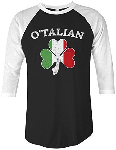 Threadrock O'Talian Italian Irish Shamrock Unisex Raglan T-Shirt M Black/White