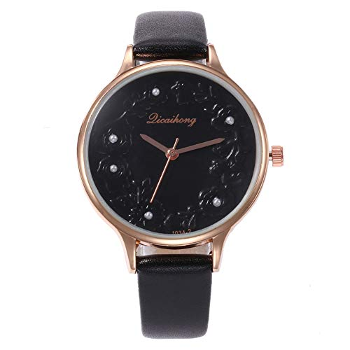 (dezirZJjx Quartz Watches for Women, Fashion Women Round Dial Flower Embossed Faux Pearl Analog Wrist Watch - Black for Valentine's Day, Mother's Day, Anniversary, Birthday)