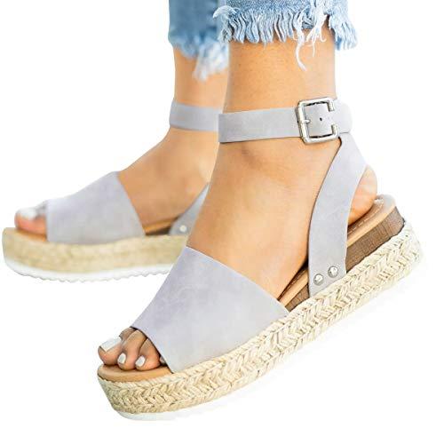 Leather Open Toe Wedge Heel - Mafulus Womens Espadrilles Platform Sandals Wedge Ankle Strap Studded Open Toe Summer Sandals Light Grey