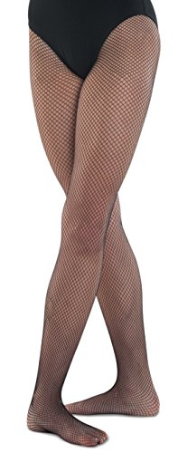 Danshuz Girl's Seamless Nylon/Spandex Fishnet Tights (Black Size Child 12-14)