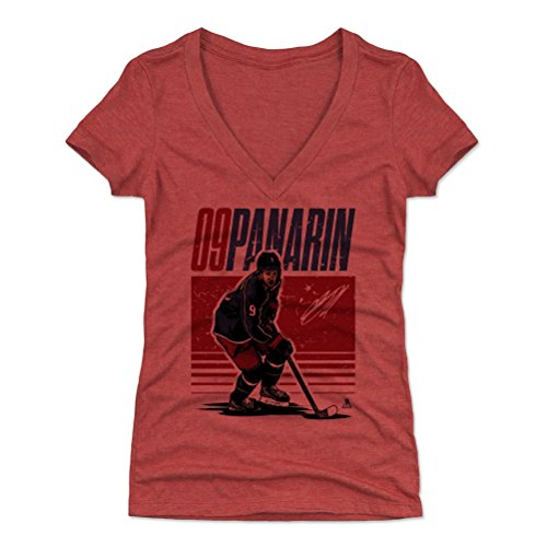 - 500 LEVEL Artemi Panarin Women's V-Neck Shirt (Large, Tri Red) - Columbus Blue Jackets Shirt for Women - Artemi Panarin Starter R