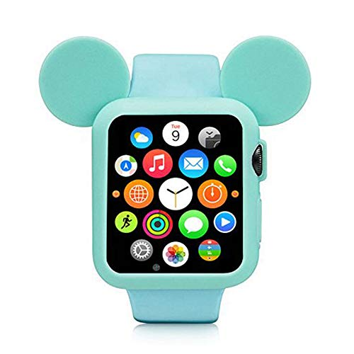 Navor Soft Silicone Protective Case for Cartoon Mouse Ears Compatible for Apple Watch 38mm Series 1/2/3 - Green