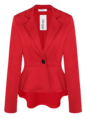 Meaneor Women's Crop Frill Shift Slim Fit Peplum Blazer Jacket (Red Wool Blazer Jacket)