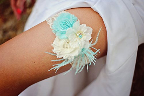 Shabby Chiffon Ivory Aqua Blue Lace Pearl Feather Flower Bridal Garter Vintage Wedding Garter