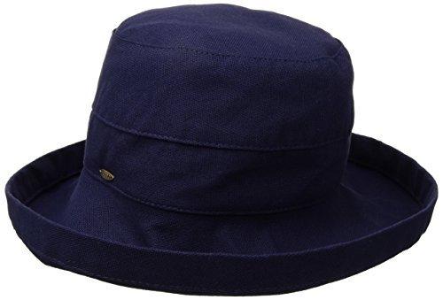 (SCALA Women's Medium Brim Cotton Hat, Navy, One Size)