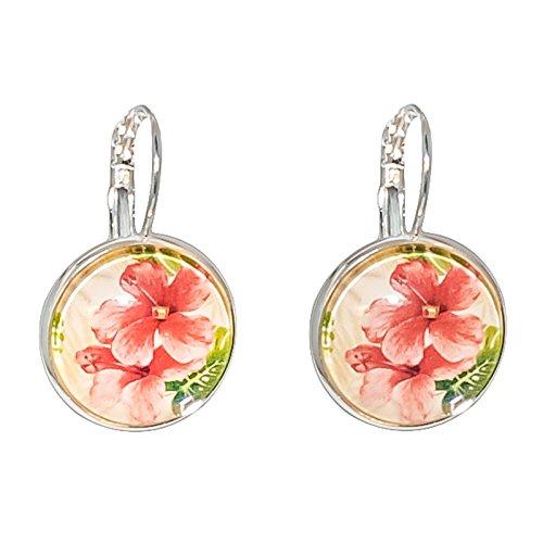 Créative Perles - Boucles d'oreilles Cabochon rond fleur tropicale rose saumonée - Orange