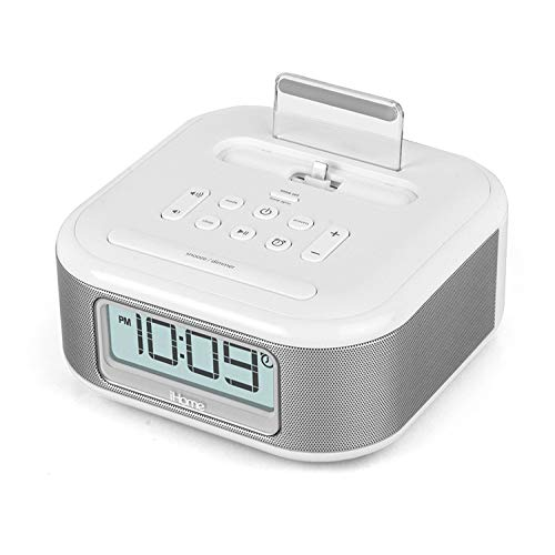 iHome iPL23 Alarm Clock FM Radio with Lightning iPhone Charging Dock Station for iPhone Xs, XS Max, XR, X, iPhone8,7,6 Plus USB Port to Charge Any USB Device