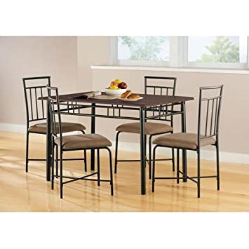Mainstays Sturdy Steel Table with Wood Top Including 4 Upholstered Chairs