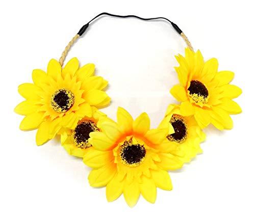 SAE99 Accessories Sunflower Floral Flower Crown Stretch -