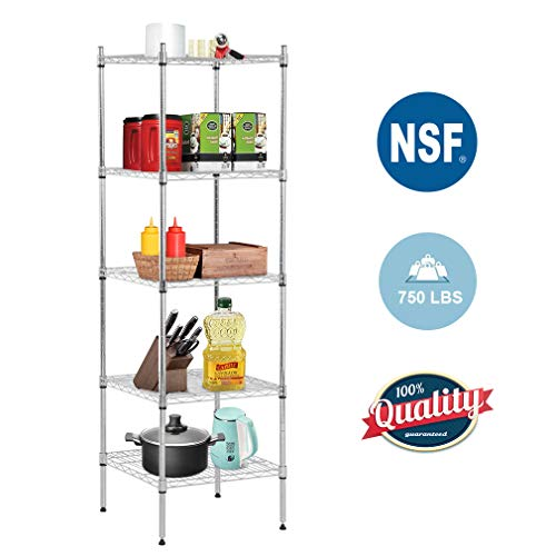 5 Shelf Wire Shelving Unit Metal Nsf Wire Shelf Organizer Storage Shelves Heavy Duty Height Adjustable Utility Leveling Feet Steel Layer shelf Commercial Grade Rack Capacity-18x18x59,Chrome