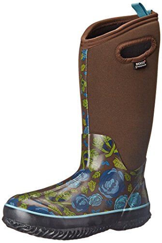 Bogs Women's Classic Rose Garden Tall Waterproof Insulated Boot, Brown,6 M US