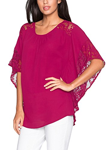 Women's Chiffon Loose Lace Batwing Short Flutter Sleeve Blouse Tops(Rose,L) -