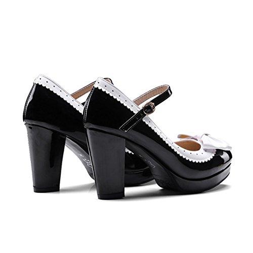 Color de Talla 43 Cuero Tacones Bowknot sintético Moda de de Zapatos Código Mujer tamaño Banda para Zapatos de Profunda Negro Chunky Boca Poco Hebilla 34 Hebilla Heel de Verano 43 de 17wHqzEp