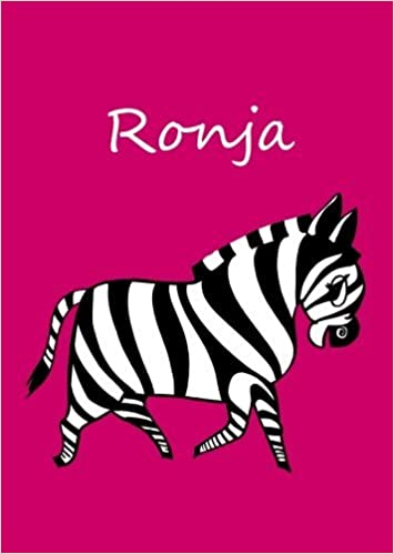 personalisiertes Malbuch//Notizbuch//Tagebuch blanko Ronja: Zebra A4 pink