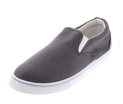 Doug Mens Slip On Shoes,Casual Skate Canvas Sneakers,Slipon Men's Boat Deck Shoe Charcoal 8D US ()