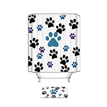 CHARMHOME Dog Paw Prints Waterproof Bathroom Shower Curtain and Doormat Sets