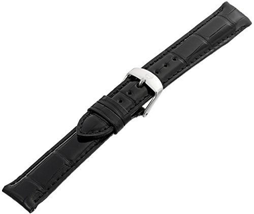 MICHELE MS18AA010001 18mm Leather Alligator Black Watch Strap by MICHELE (Image #2)