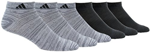 adidas Mens Superlite Low Cut Socks with arch compression (6-Pair), Med Grey, 12-16