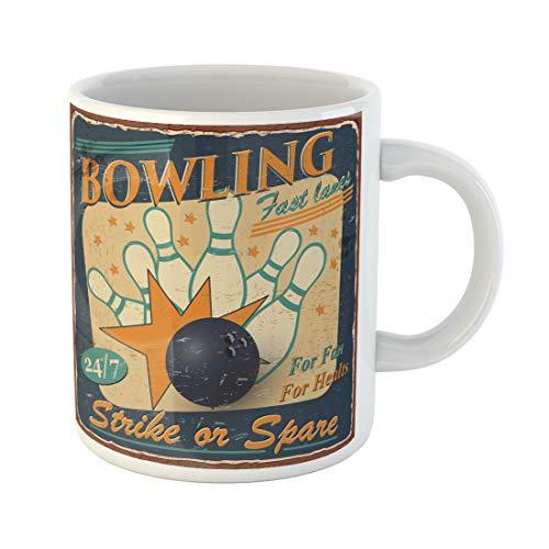 Semtomn Funny Coffee Mug Retro Vintage Bowling 1950S Party Strike 1960S Aged Antique 11 Oz Ceramic Coffee Mugs Tea Cup Best Gift Or Souvenir ()