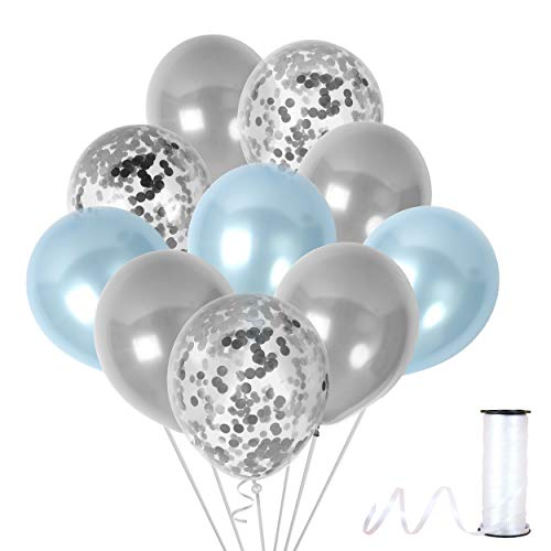 Metallic Light Blue and Silver Balloons Silver Confetti Balloon 12 Inch Latex Party Kit for Baby Shower Elephant Theme Birthday Wedding Under The Sea Party Decoration -