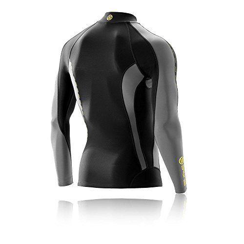Skins Mens DNAmic Men's Thermal Compression Long Sleeve Mock Neck with Zip Top, Black/Pewter, Small by Skins (Image #1)