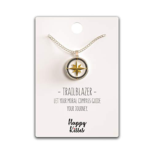 Happy Kisses Compass Necklace Nautical Pendant Gold & Silver Trailblazer Gift for Woman
