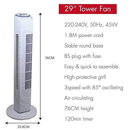 Belaco Tower cooling fan Pedestal Oscillating Floor free Standing fan 29inch 3Speed White Home Office