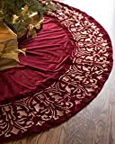 Balsam Hill Luxe Embroidered Velvet Tree Skirt, 60 inches, Wine