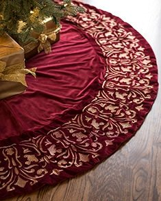 Balsam Hill Luxe Embroidered Velvet Tree Skirt, 60 inches, Wine by Balsam Hill (Image #5)