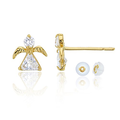 - 14K Yellow Gold Round and Trillion Little Angel Stud Earring & 14K Silicon Back