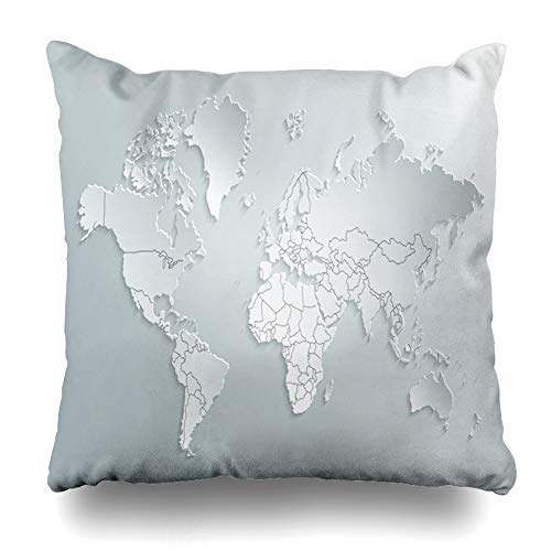 Ahawoso Throw Pillow Cover Square 18x18 Global Land Atlas Gray Globe World Map Political White Capitals Europe Abstract Africa America Asia Zippered Cushion Case Home Decor Pillowcase (Map Of Europe And Asia With Capitals)