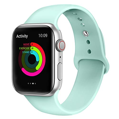 AdMaster Silicone Compatible for Apple Watch Band and Replacement Sport iwatch Accessories Bands Series 4 3 2 1 Mint Green 42mm/44mm M/L (Watch Mint)