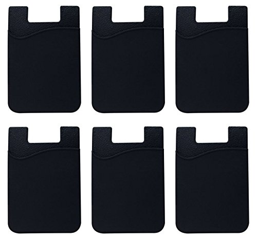 (EZkeep Cell Phone Wallet by Withjenny: (For Credit Card & Id) | Works with almost every phone | Iphone, Android & Most Smartphones | 6 Pc Pack (black))