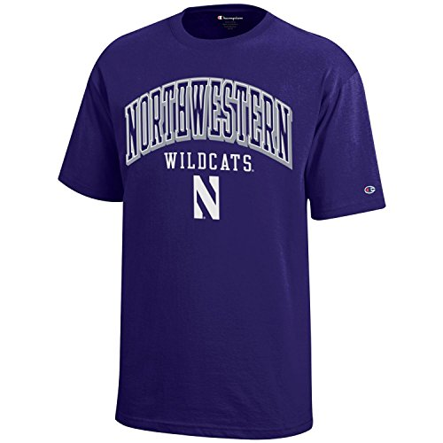 NCAA Northwestern Wildcats Youth Boys Champion Short sleeve Jersey T-Shirt, Small, Purple